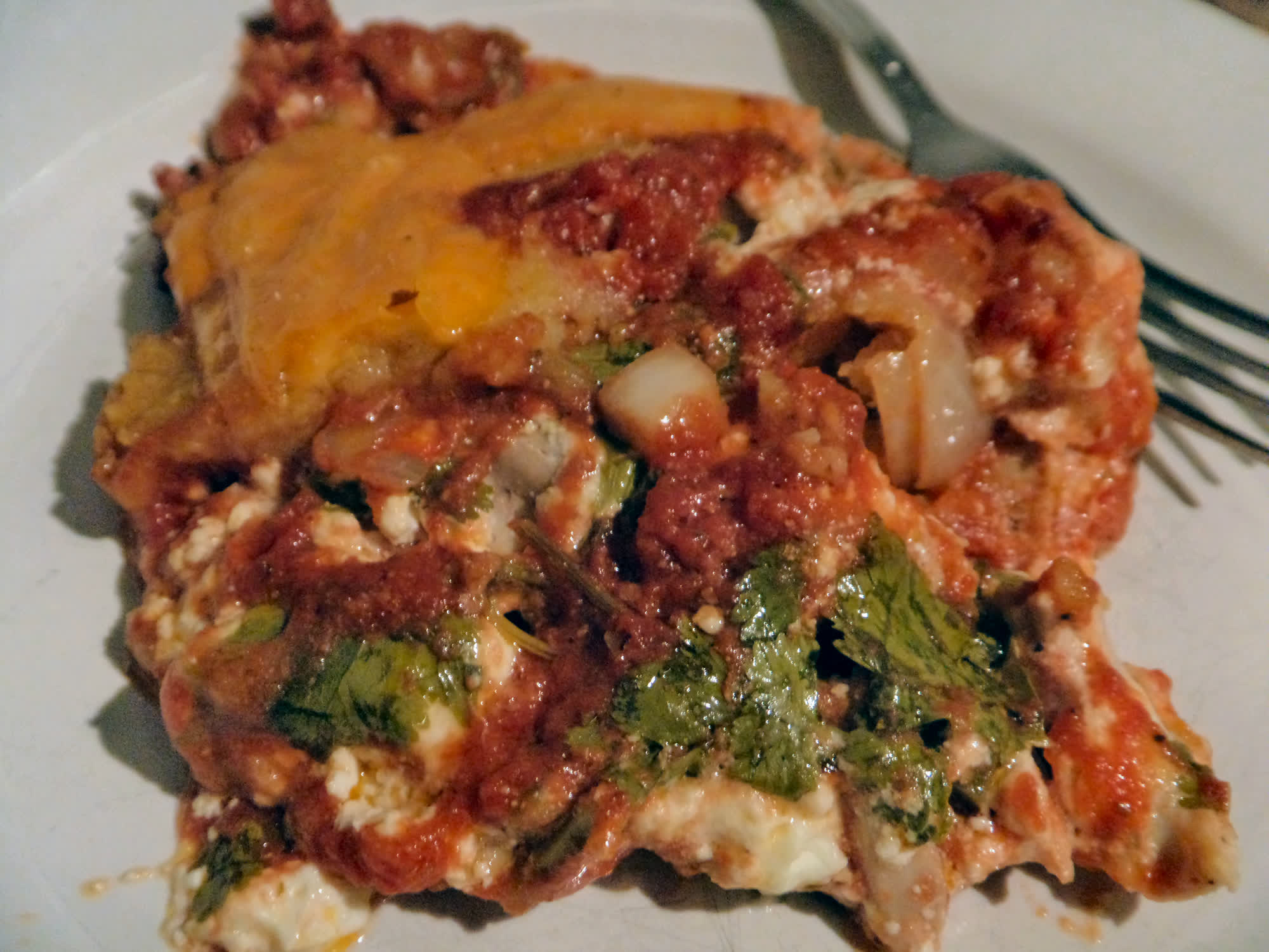 Chicken, cheese and spinach tamale pie.