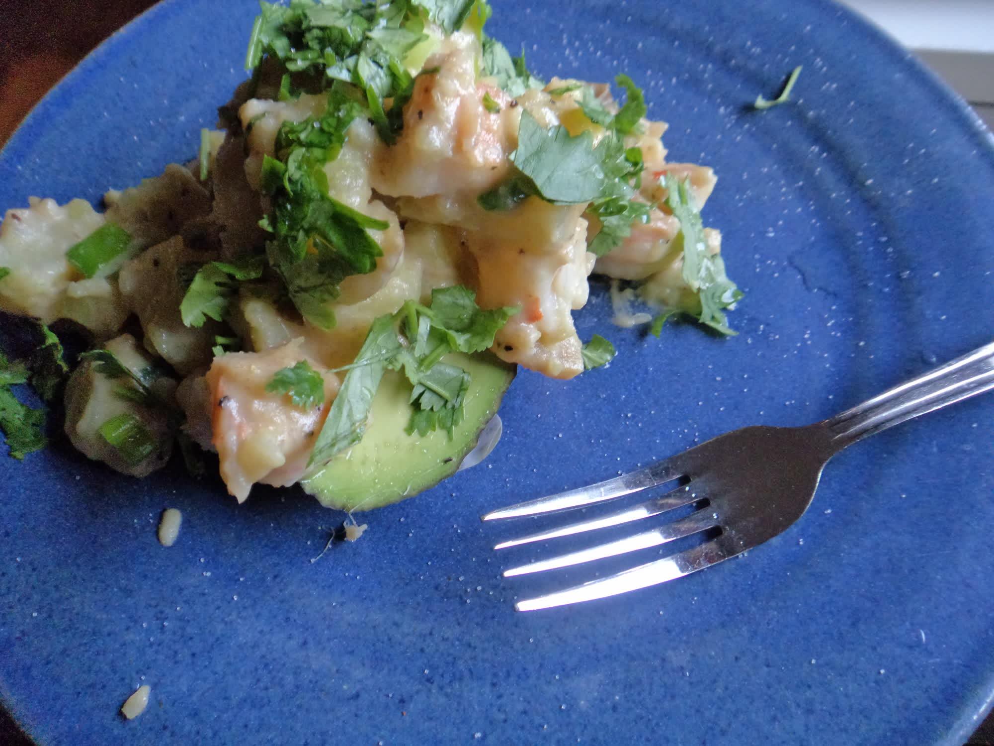 Shrimp salad on avocado.